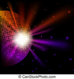 Abstract colorful background with disco ball. Vector eps10...