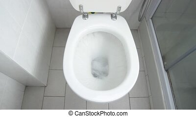 WC flush - Flush clean wc, water splash in toilet