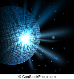 Abstract blue background with disco ball. Vector eps10...