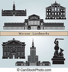 Warsaw landmarks and monuments isolated on blue background...