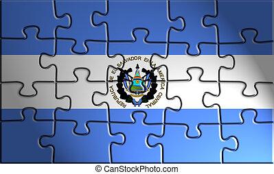 Flag of El Salvador, national country symbol illustration