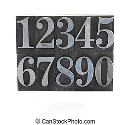 metal type numbers - old, ink-stained numbers in letterpress...