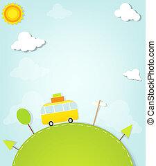 caricatura, minivan, colina