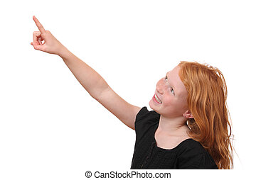 Pointing - Happy young girl points up on white background