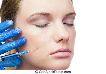 Peaceful cute model having botox - Peaceful cute model on...