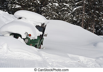Buried Car - snow buries a car after a winter storm