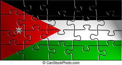 Flag of Jordan, national country symbol illustration