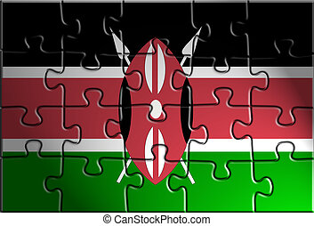 Flag of Kenya, national country symbol illustration