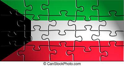 Flag of Kuwait, national country symbol illustration