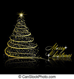 Christmas tree on black background. Vector eps10...