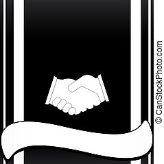background with handshake and place - black deal background...