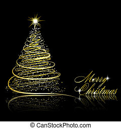 Christmas tree on black background Vector eps10 illustration...