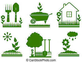 isolated garden landscaping symbols - set green isolated...