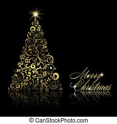Natale, albero, Turbini, floreale, elementi, nero, backgrou