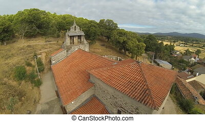 Romanic Church - Aerial view of romanic church and roof in...