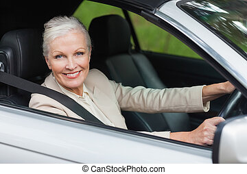 Cheerful businesswoman driving classy car on a bright day