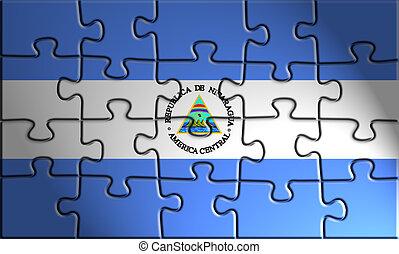 Flag of Nicaragua, national country symbol illustration
