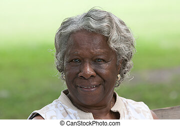 Smiling Old African American Lady