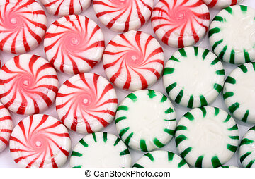 Red and green Christmas mints