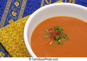 Red pepper and tomato soup - Fresh red pepper and roasted...
