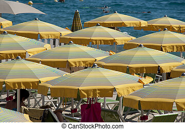 Cabanas and Beach Umbrellas - Cabanas and beach umbrella in...