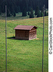 Mountain Hut - Small hut in the alps. Italy