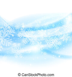 Merry Christmas background. Abstract light blue waves with...