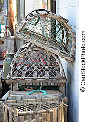 Lobster Traps - A stack of lobster traps leaning against a...