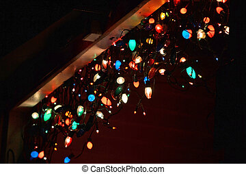 Colored Lights - Several strands of colored lights hanging...