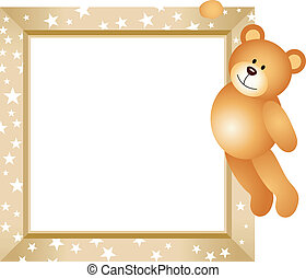 Teddy Bear Hanging in the Frame - Scalable vectorial image...
