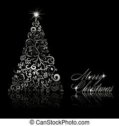 Christmas tree with swirls and floral elements on black background. Vector eps10 illustration