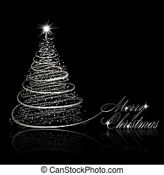 Silver Christmas tree on black background Vector eps10...
