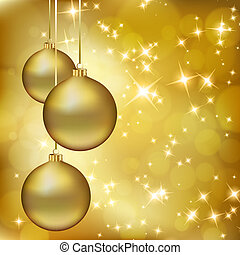 Golden Christmas balls on abstract gold background. Vector...