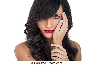 Glamorous brunette with red lips p