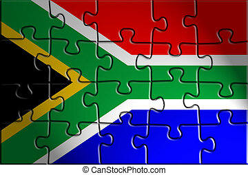 Flag of South Africa, national country symbol illustration