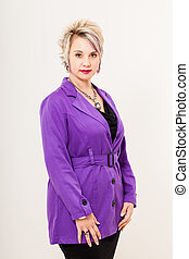 purple trench coat - a caucasian woman with bright magenta...