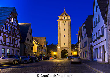 Night scene in Rothenburg ob der Tauber - Night shot at one...