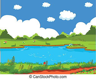 Pond and background landscape