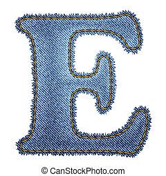 Jeans alphabet. Denim letter E. Vector eps10 background