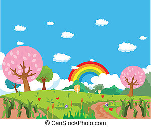 Forest, rainbow and farm background landscape