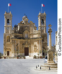 Gharb - Gozo - Malta - Main square and church in the village...