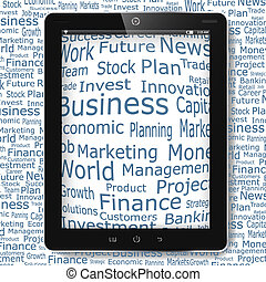 Business and financial words on tablet pc display
