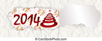 Torn paper New Year 2014 banner background