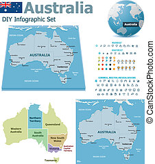 Australia maps with markers - Set of the political Australia...