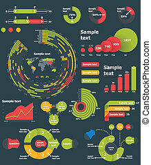 Vector infographic elements - Set of the colorful charts,...