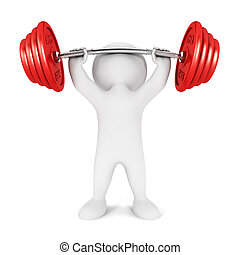 3d white people weightlifting, isolated white background, 3d...