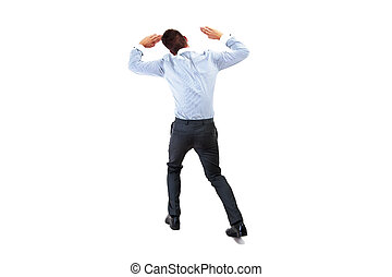 Back view of a businessman lifting his arms. Image with extra copy space. All isolated on white background