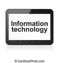 Information concept: black tablet pc computer with text Information Technology on display. Modern portable touch pad on White background, 3d render