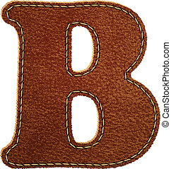 Leather alphabet Leather textured letter B Vector eps10...