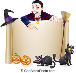Halloween Dracula Banner - A Halloween scroll sign with a...